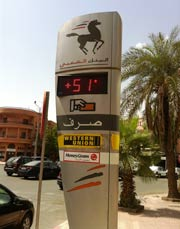 Temperaturen in Marrakesch, Marokko