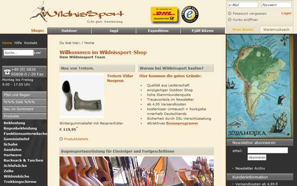 Ein Screenshot des Outdoor-Online-Shops Wildnissport.de