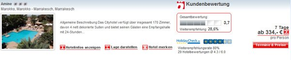 Screenshot Reiseangebot Marrakesch