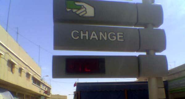 Zeichen für eine Bank in Marokko