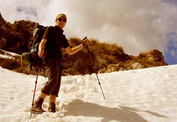Wandern im Schnee in Marokko