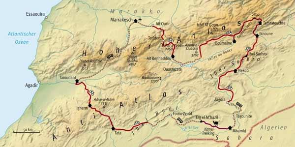 Route des MTB-Trekking in Marokko